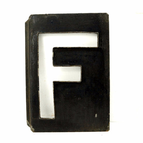 "Vintage Metal Letter ""F"" Moonglo Marquee Letter, 13"" tall (c.1900s) - ThirdShiftVintage.com"