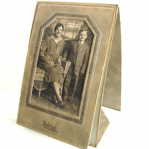 Antique Photograph of Mother and Son (Sepia Toned) in Folder/Frame (c.1930s) - ThirdShift Vintage