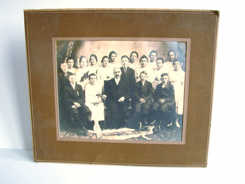 Antique Studio Photograph of Teacher & Students, Classroom Photo (c.1910s) - thirdshift