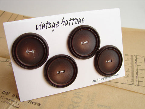 "Vintage Buttons in Dark Brown (Set of 4) ""The Espresso Set"" (c.1960s) - ThirdShiftVintage.com"