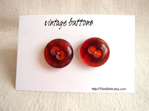 "Vintage Buttons in Dark Orange Swirls (Set of 2) ""The Orange Marmalade Set"" (c.1960s) - thirdshift"