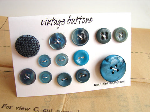 "Vintage Buttons in Dark Blue (Set of 13) ""The Jacque Cousteau Set"" (c.1960s)"