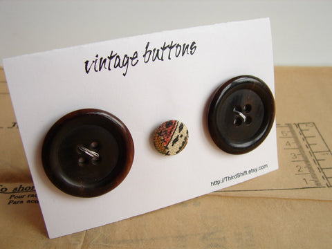 "Vintage Buttons in Dark Brown (Set of 3) ""The Hot Cocoa Set"" (c.1960s) - thirdshift"