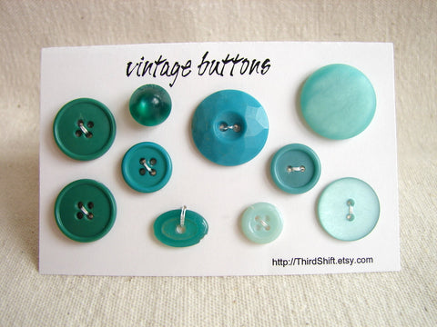 "Vintage Buttons in Dark and Light Green (Set of 10) ""The Green with Envy Set"" (c.1960s)"