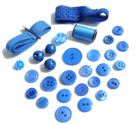 Vintage Blue Buttons, Ribbon and Lace, Blue Thread Destash Inspiration Kit (c.1960s)