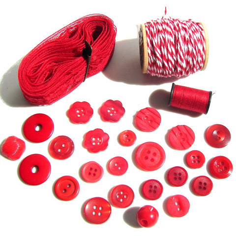 Vintage Hot Red Buttons and Lace, Twine, Thread Destash Inspiration Kit (c.1960s) - thirdshift