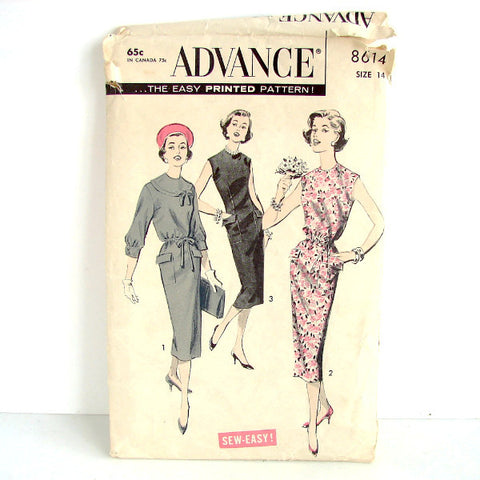 Vintage Advance Pattern 8614, Slim Dress, Unused Womens Size 14 (c.1950s) - thirdshift