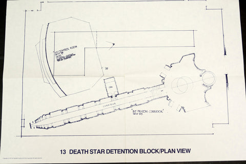 Vintage Star Wars Blueprint for Death Star Detention Block/Plan View (c.1977) N13 - ThirdShift Vintage