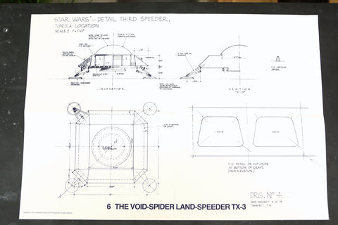 Vintage Star Wars Blueprint for Void Spider Landspeeder TX3 (c.1977) N6 - thirdshift