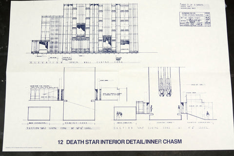 Vintage Star Wars Blueprint for Death Star Interior Detail / Inner Chasm (c.1977) N12 - ThirdShiftVintage.com