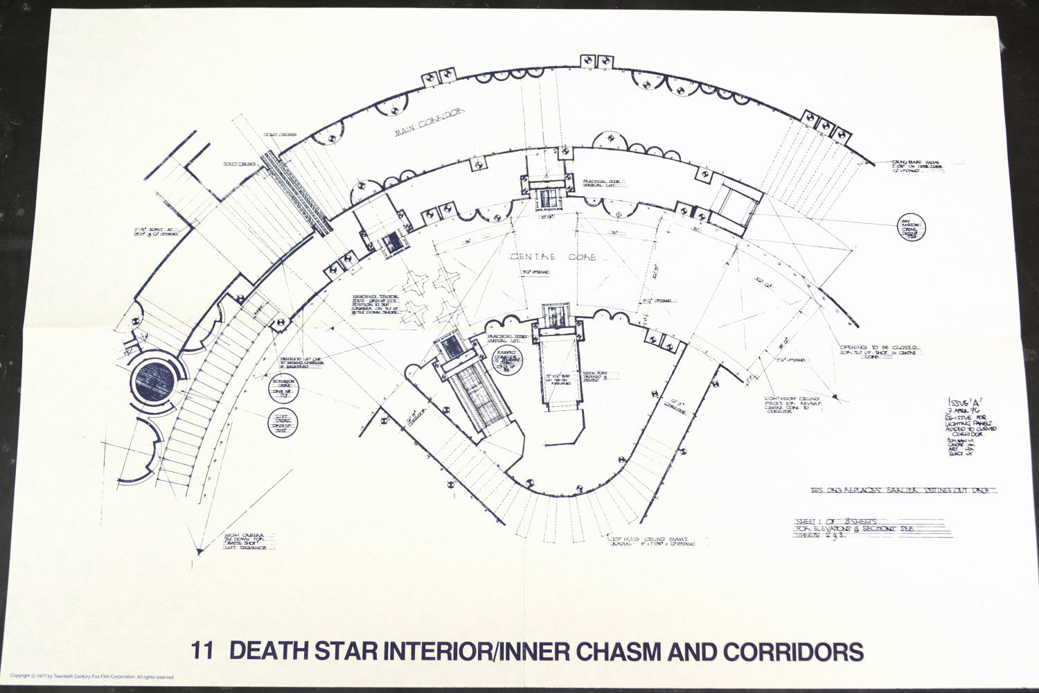 Vintage Star Wars Blueprint For Death Interior Inner Chasm C1977 N11