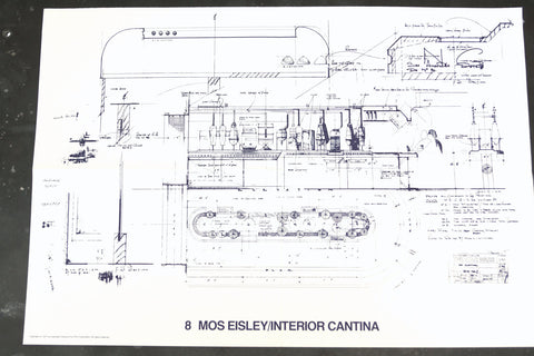 Vintage Star Wars Blueprint for Mos Eisley / Interior Cantina (c.1977) N8 - ThirdShift Vintage