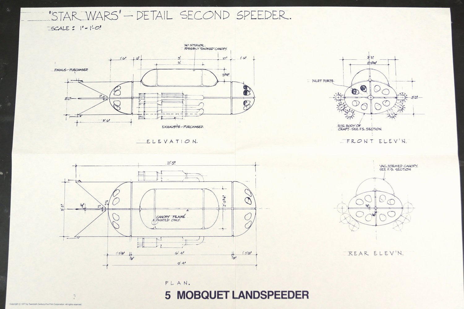 Iets Nieuws Vintage Star Wars Blueprint for Mobquet Landspeeder (c.1977) N5 #UV22