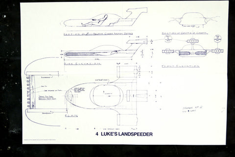 Vintage Star Wars Blueprint for Luke's Landspeeder (c.1977) N4 - ThirdShiftVintage.com