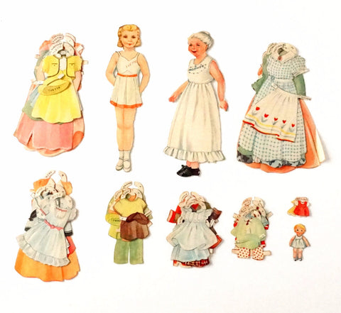 Vintage Paper Doll Set with Mother, Child, and Clothing (1940s) - ThirdShiftVintage.com
