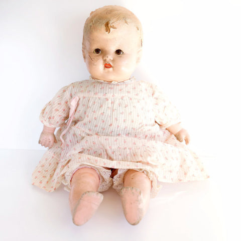 "Vintage Sleepy Eye Composition Baby Doll with Molded Hair and Cloth Body, 22"" (c.1920s) - ThirdShiftVintage.com"