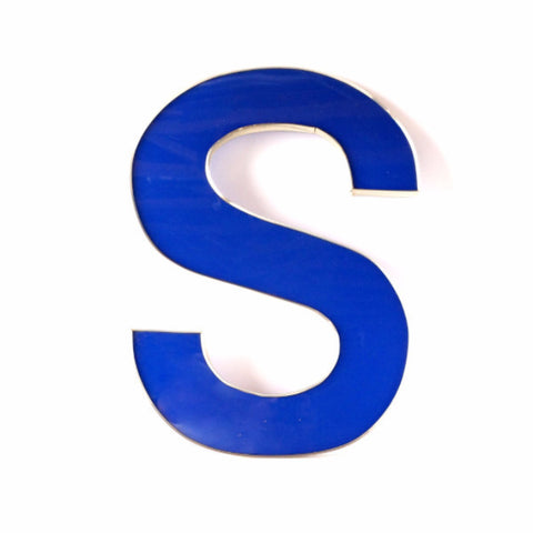 "Vintage Industrial Letter ""S"" Sign Letter in Blue and Silver, 25"" tall x 20"" wide (c.1980s) - ThirdShift Vintage"