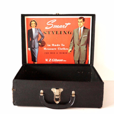 Vintage W.Z. Gibson Inc. Black Faux Leather Salesman Case, Original Illustration (c.1940s) - ThirdShiftVintage.com