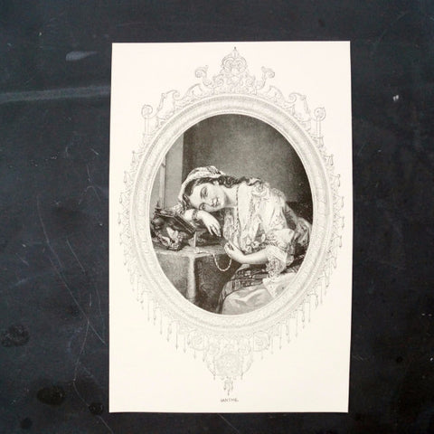 "Vintage / Antique Print ""Ianthe"", a Young Woman at her Vanity (c.1800s)"