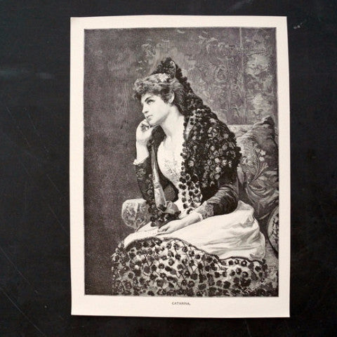 "Vintage / Antique Print of a Young Woman titled ""Catarina"" by F. Diaz Carreno (c.1800s)"