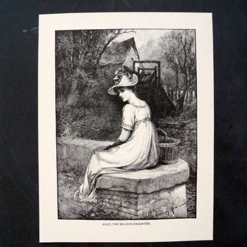 "Vintage / Antique Print Young Woman ""Alice, The Miller's Daughter"" Lord Alfred Tennyson (c.1892)"