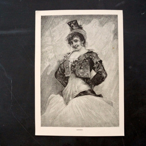"Vintage / Antique Print of a Young Woman titled ""Carmen"" (c.1800s) - ThirdShiftVintage.com"