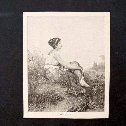 "Vintage / Antique Print of a Young Girl titled ""Little Ellie"" (c.1800s)"