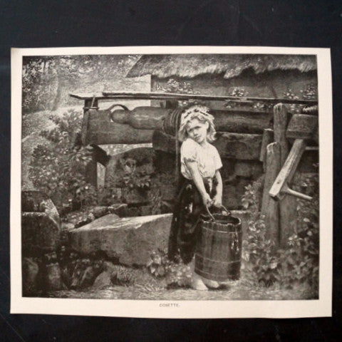 "Vintage / Antique Print of a Young Girl titled ""Cosette"" (c.1800s) - thirdshift"