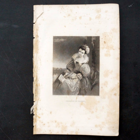 "Vintage Engraving of Princess of France, Shakespeare's ""Love's Labour's Lost"" (c.1835) - ThirdShiftVintage.com"