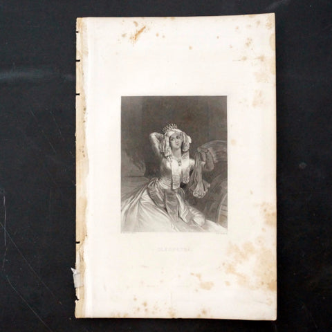 "Vintage Engraving of Cleopatra from Shakespeare's ""Antony and Cleopatra"" (c.1835) - ThirdShiftVintage.com"