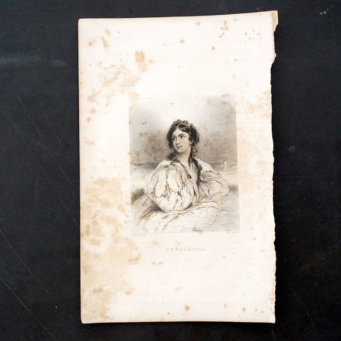 "Vintage / Antique Engraving of Desdemona from Shakespeare's ""Othello"" (c.1835) - ThirdShift Vintage"