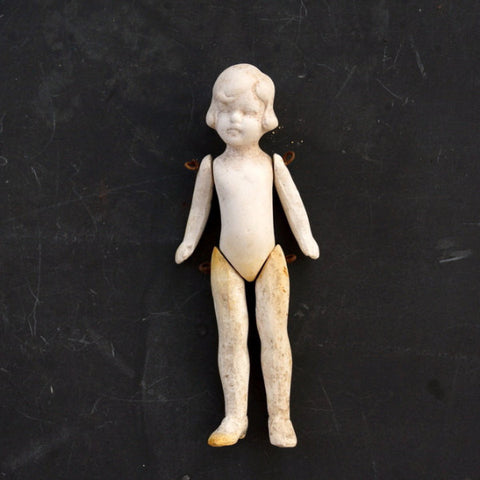 Vintage Jointed Bisque Doll with Molded Hair, Made in Germany, Numbered (c.1860s) N1 - ThirdShiftVintage.com