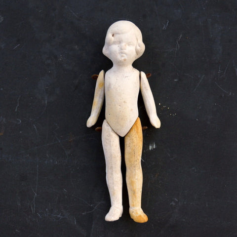Vintage Jointed Bisque Doll with Molded Hair, Made in Germany, Numbered (c.1860s) N2 - ThirdShiftVintage.com