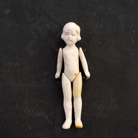Vintage Jointed Bisque Doll with Molded Hair, Made in Germany, Numbered (c.1860s) N3 - ThirdShiftVintage.com