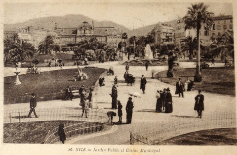 Vintage French Postcard (Carte Postale) NICE, Jardin Public et Casino Municipal (c.1900) - thirdshift