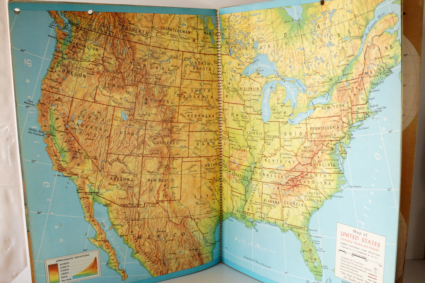 Vintage Hammond\'s Clear-Relief Wall Atlas, Very Large, Poster Size ...