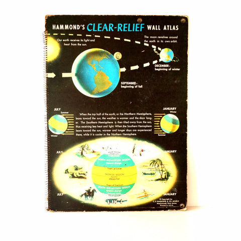Vintage Hammond's Clear-Relief Wall Atlas, Very Large, Poster Size (c.1960s) - ThirdShiftVintage.com