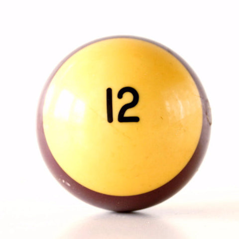 "Vintage Purple Striped 12 Pool Ball / Billiard Ball, Standard Regulation Size (2-1/4"") - ThirdShiftVintage.com"