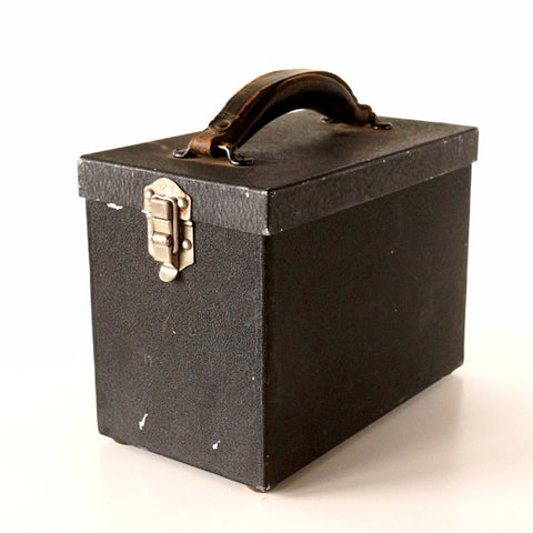 Vintage Black Metal Case / Box with Leather Handle (c.1950s) - thirdshift