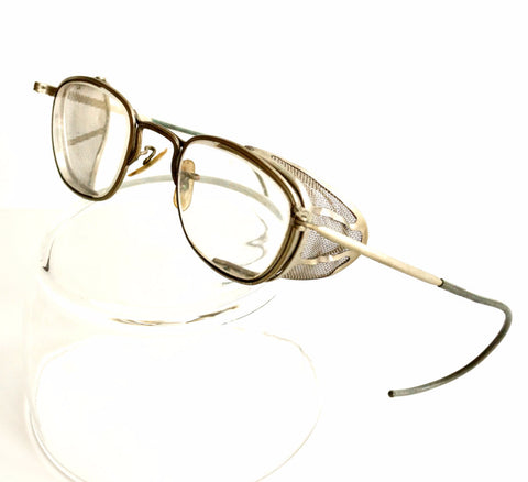 Vintage Safety Goggles / Glasses with Wire Mesh Sides (c.1940s) - ThirdShift Vintage