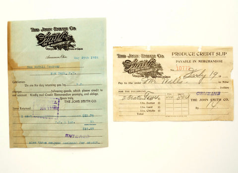 "Vintage ""The John Smith Co. General Store"" Receipts (c.1920) - ThirdShift Vintage"