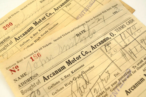 "Vintage ""Arcanum Motor Co."" Receipt (c.1923) - ThirdShift Vintage"