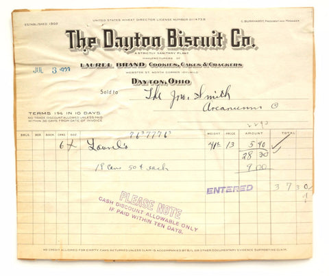 "Vintage ""The Dayton Biscuit Co."" Store Receipt (c.1923) - ThirdShift Vintage"