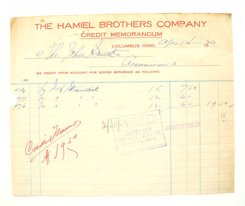 "Vintage ""The Hamiel Brothers Company"" Store Receipt (c.1923) - ThirdShift Vintage"