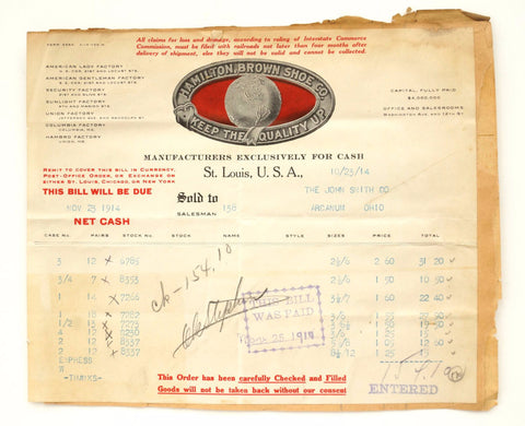 Vintage / Antique Hamilton Brown Shoe Co, and Hercules Clothing Co Receipts (c1914) - ThirdShift Vintage
