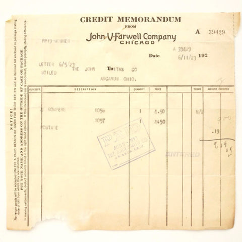Vintage / Antique John V Farwell Company Receipt (c1923) - Collectible Ephemera, Altered Art Supply - ThirdShift Vintage