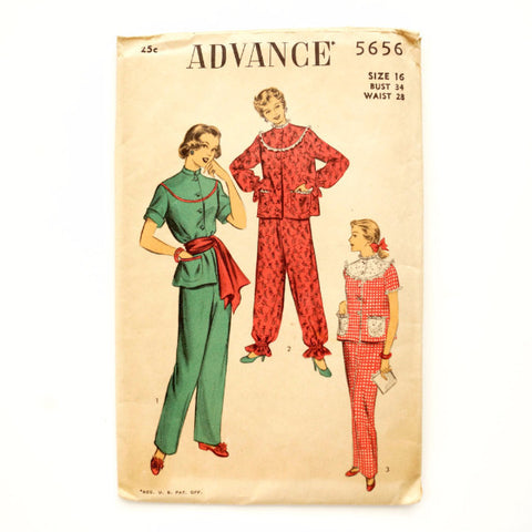 Vintage Advance Pattern 5656, Womens Pajamas, Unused (c.1950s) Womens Size 16 - ThirdShift Vintage