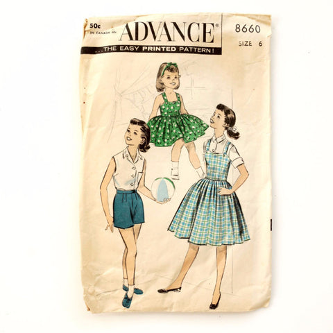 Vintage Advance Pattern 8660, Girls Jumper, Dress Sewing Pattern, Size 6 (c.1950s)