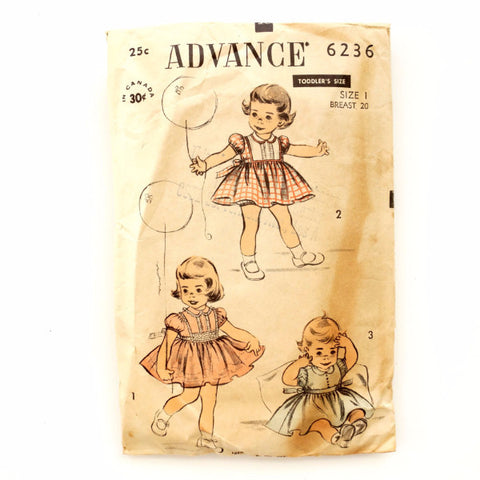 Vintage Advance Pattern 6236, Toddler Dresses (c.1940s) Girls Sewing Pattern Size 1