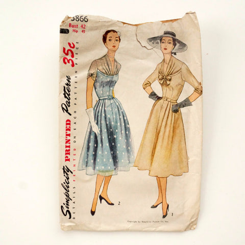 Vintage Simplicity Pattern 3866, Womens One-Piece Dress, Bust 42 Hip 45 (c.1940s) - thirdshift